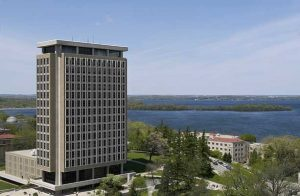 View of Van Hise Hall and Picnic Point in Lake Mendota on the